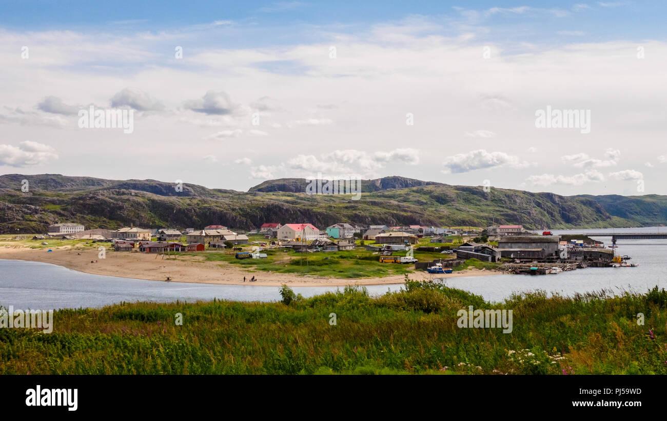 Teriberka is a rural locality village (a selo) in Kolsky District of Murmansk Oblast, Russia - Stock Image