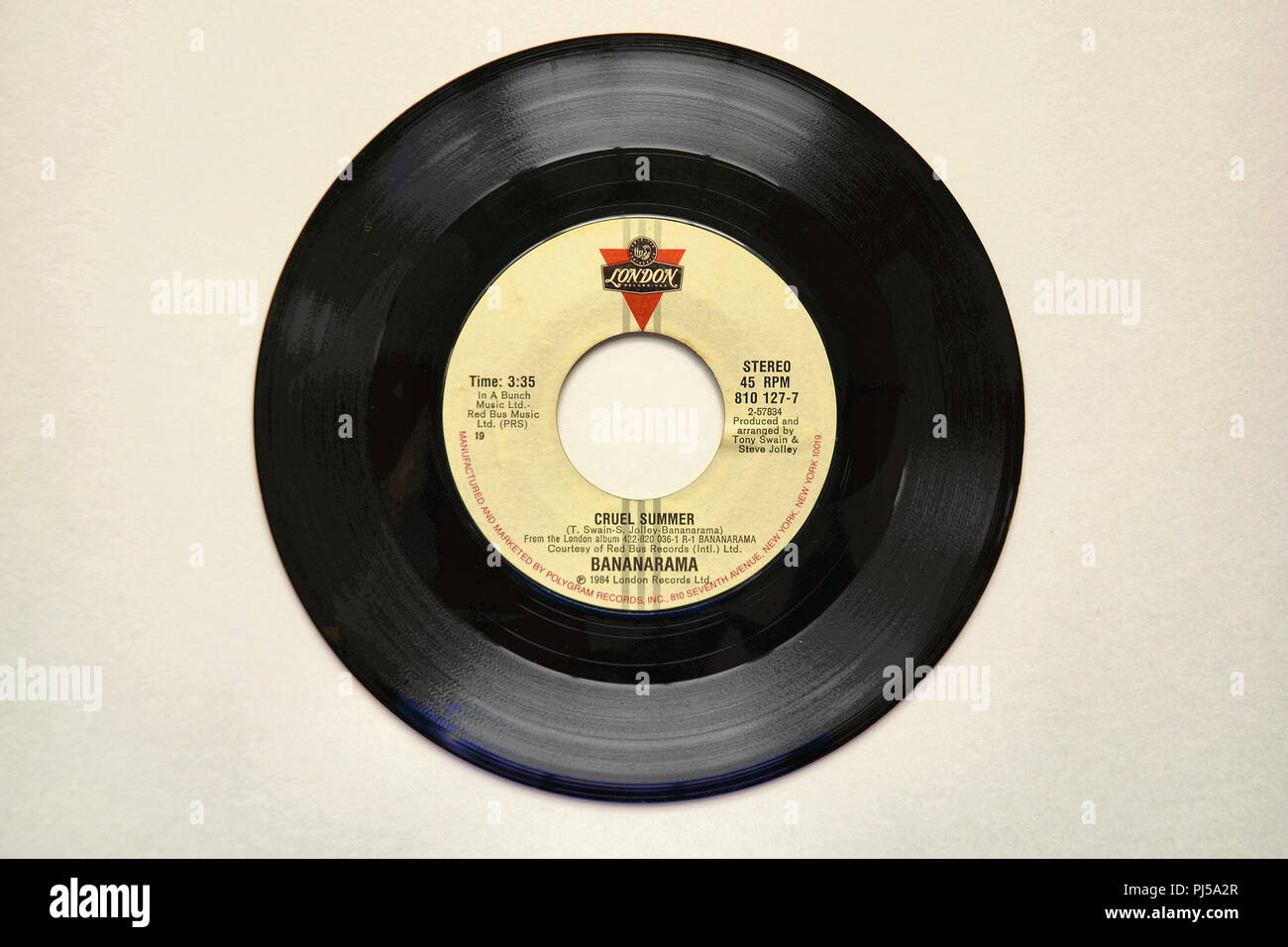 45 RPM vinyl record of Bananarama's song 'Cruel Summer' released in 1984 by London Recordings. - Stock Image