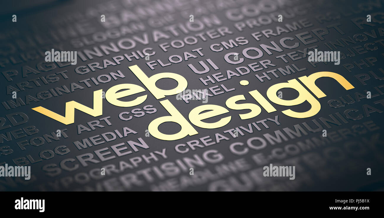 Word cloud over black background with the text web design witten in golden letters. Visual communication concept. 3D illustration Stock Photo