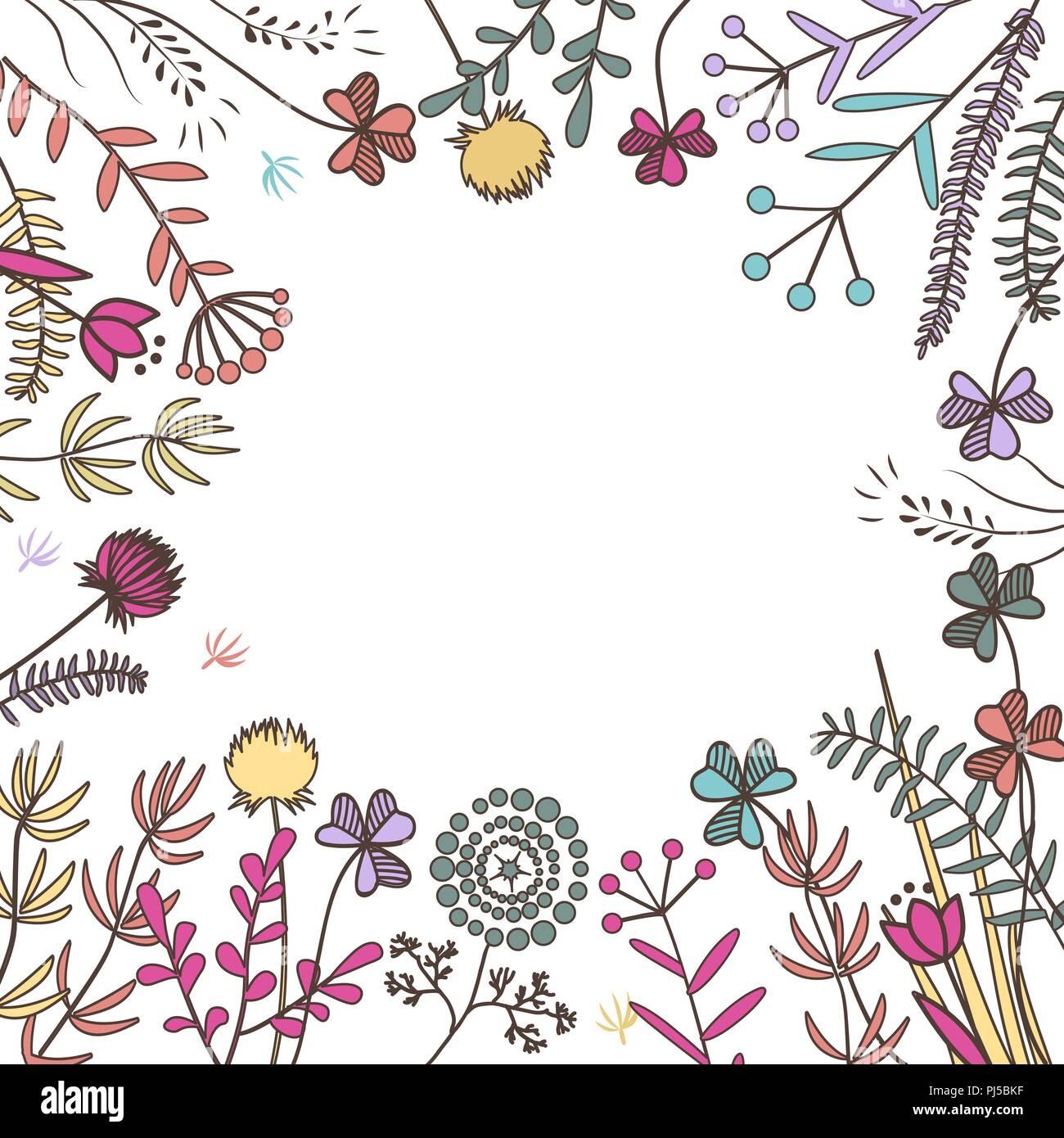 Hand Drawn Frame With Doodle Meadow Herbs Background For Autumn
