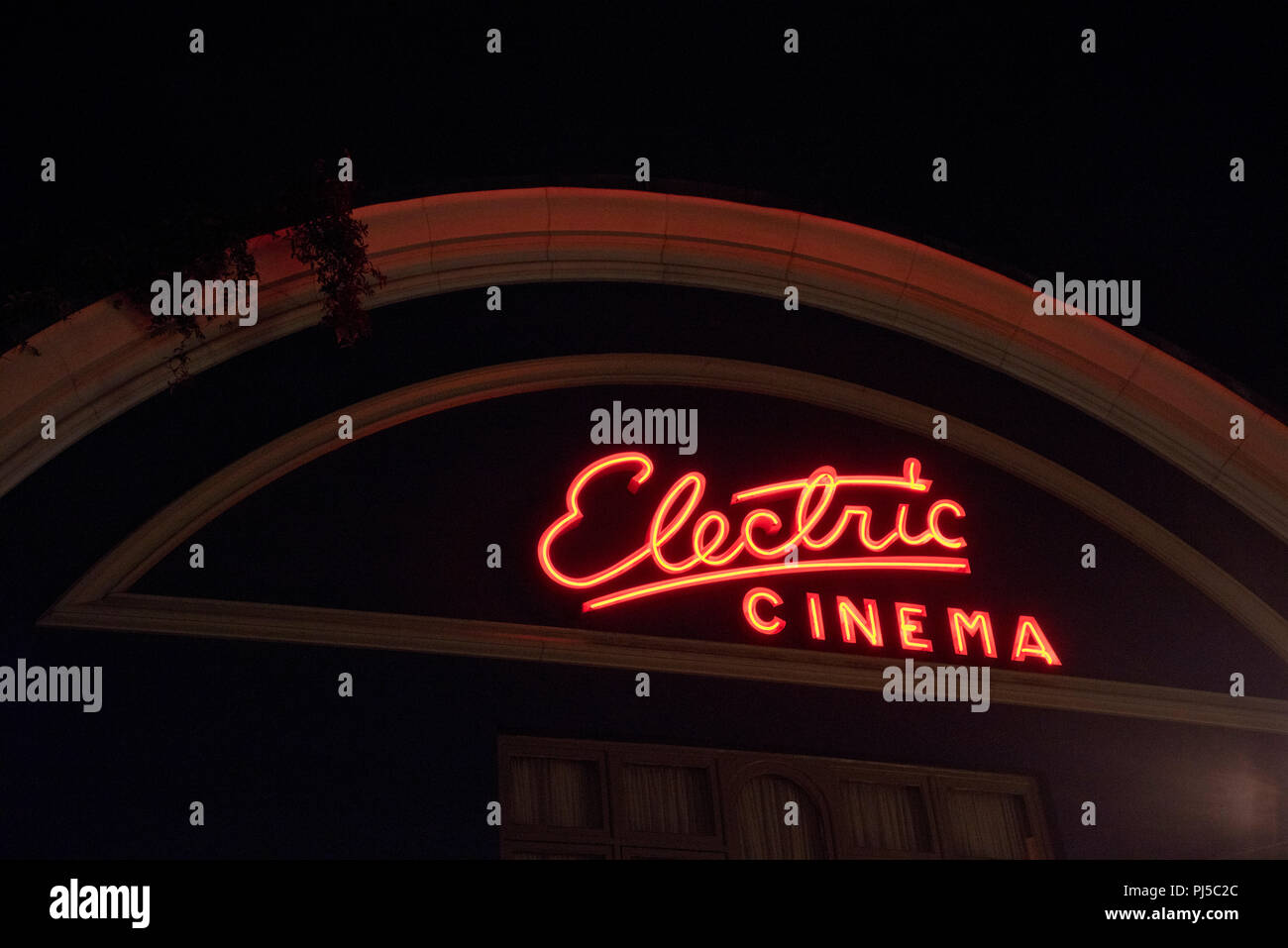 The front of the Electric Cinema on Portobello Road at night in Notting Hill,London,England,UK - Stock Image
