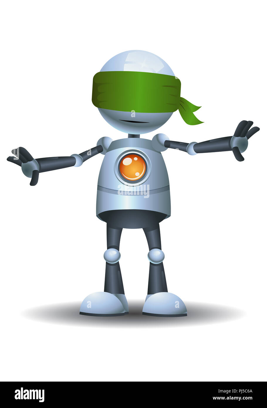 illustration of a little robot playing hide and seek on isolated white background - Stock Image
