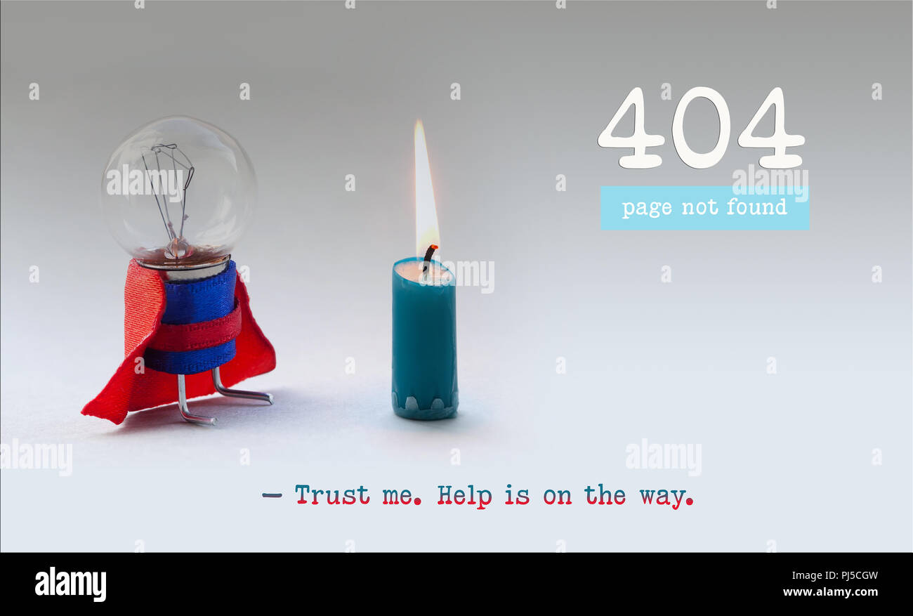 Error 404 page not found web page. Light bulb superhero and burnt out candle. Trust me help is on the way text message. - Stock Image