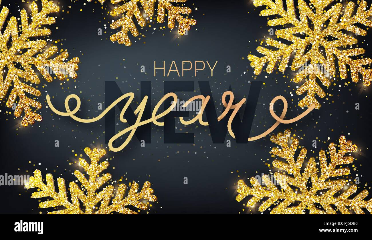 Greeting card invitation with happy new year 2019 hand written lettering on a black background - New years colors 2019 ...