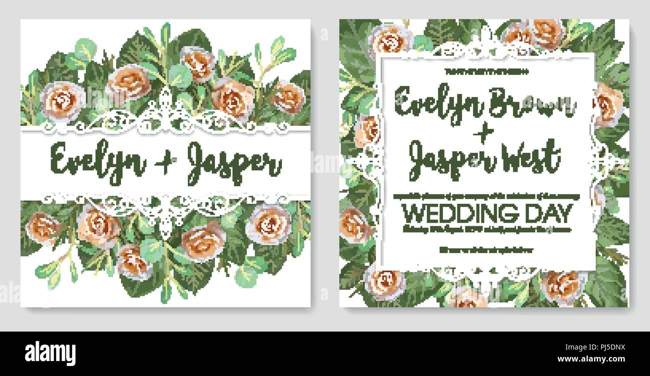 Set of vector illustrations of decorative vintage lace frames with cream roses and twigs and leaves of eucalyptus. For the wedding invitation, greetin - Stock Vector