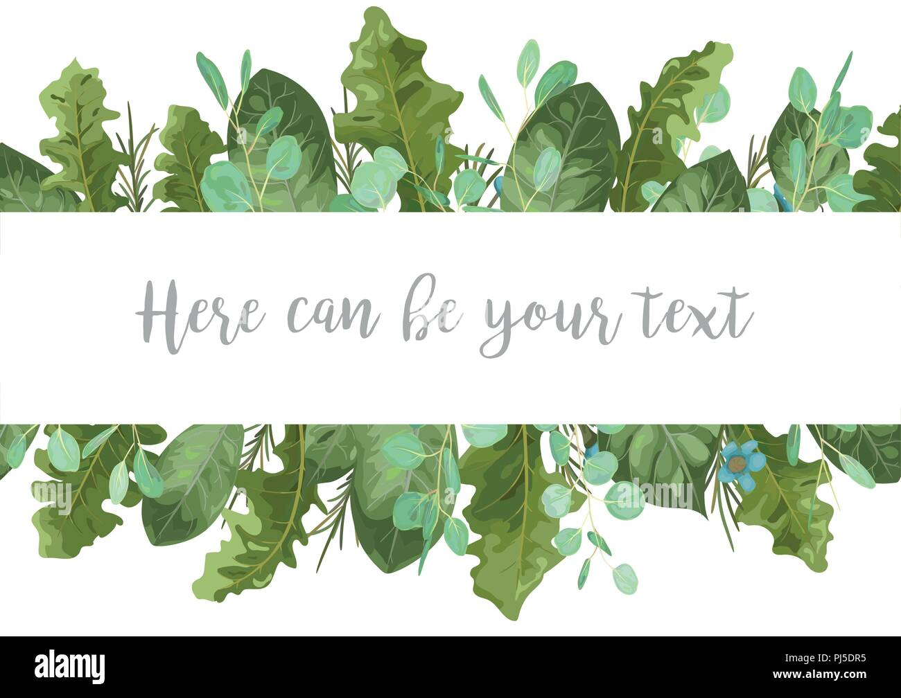 Foliage template banner frame for wedding invitations greeting foliage template banner frame for wedding invitations greeting cards advertising sales labels leaves of a rose eucalyptus gerbera and wax flowe m4hsunfo