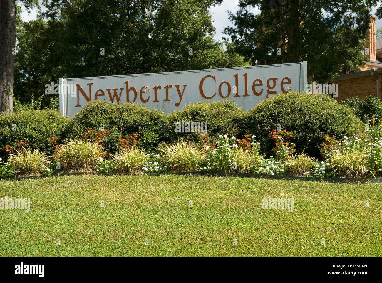 Newberry College sign South Carolina, USA. - Stock Image