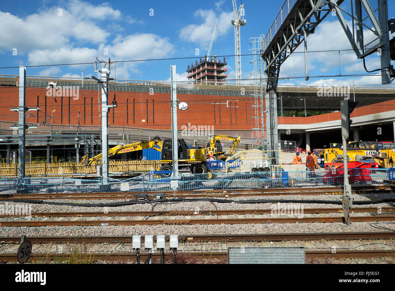 Construction site and rail tracks on the approach to Paddington Railway Station in London England UK  KATHY DEWITT - Stock Image