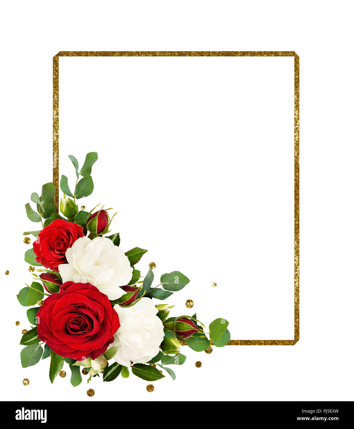 Red and white rose flowers with eucalyptus leaves and golden glitter ...