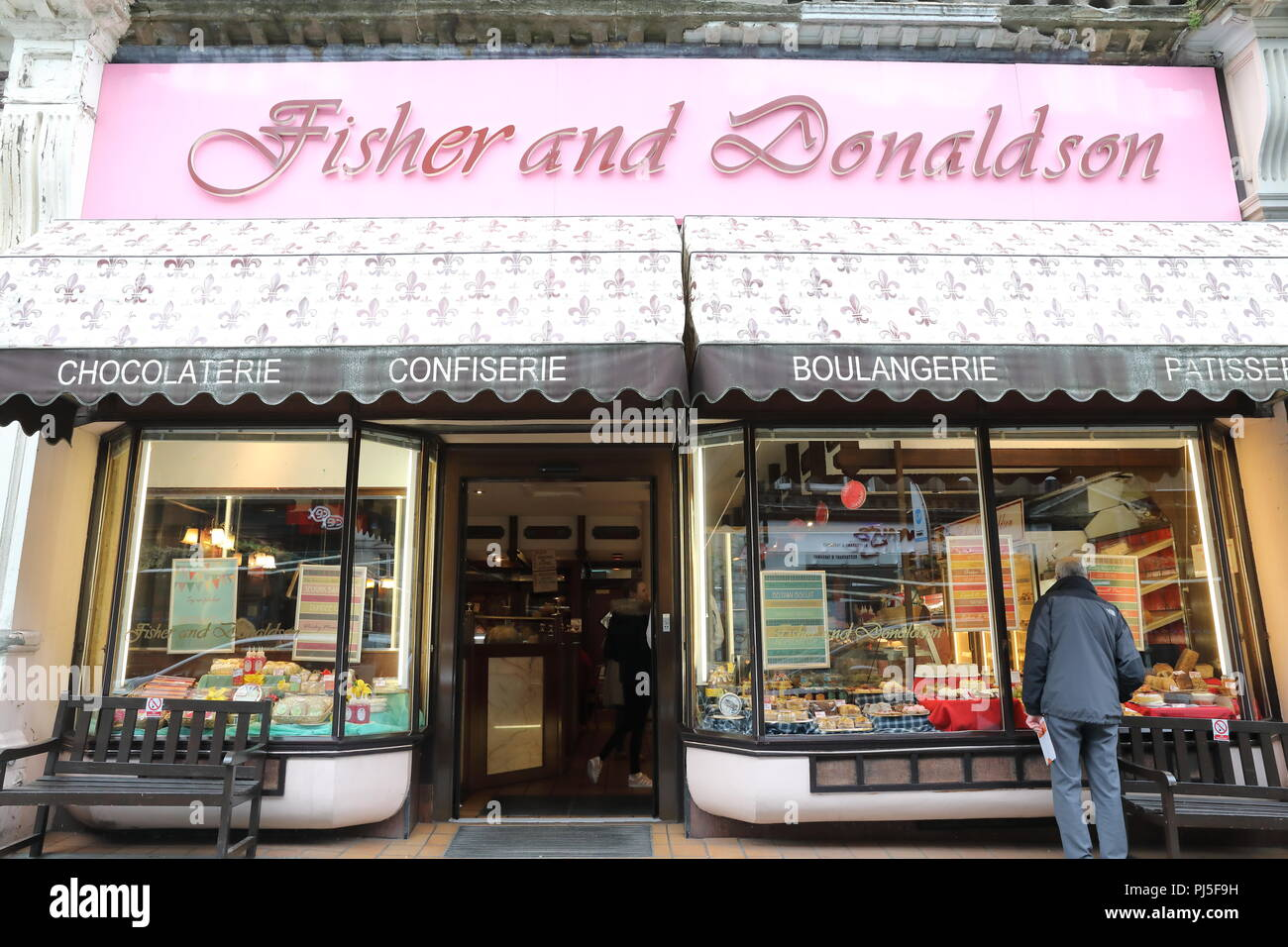 Fisher and Donaldson Royal appointed bakery and cafe on Whitehall Street, in Dundee, Scotland, UK - Stock Image