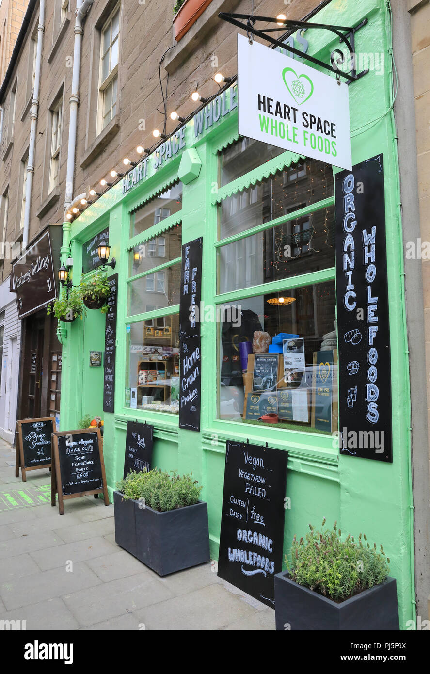 Heart Space Whole Foods on Exchange Street in central Dundee, the 'City of Discovery', in Scotland, UK - Stock Image