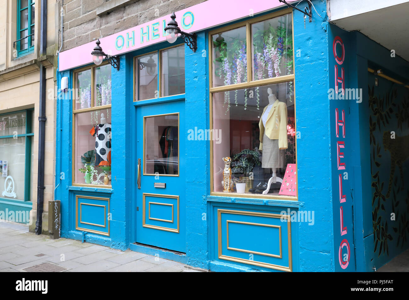 Oh HelloTrendy cafes and shops on Exchange Street in central Dundee, the 'City of Discovery', in Scotland, UK - Stock Image