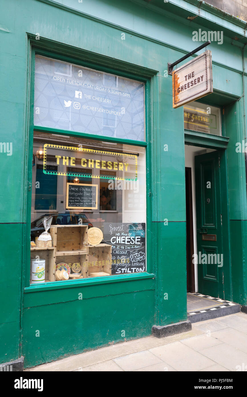The artisan Cheesery on Exchange Street in central Dundee, the 'City of Discovery', in Scotland, UK - Stock Image