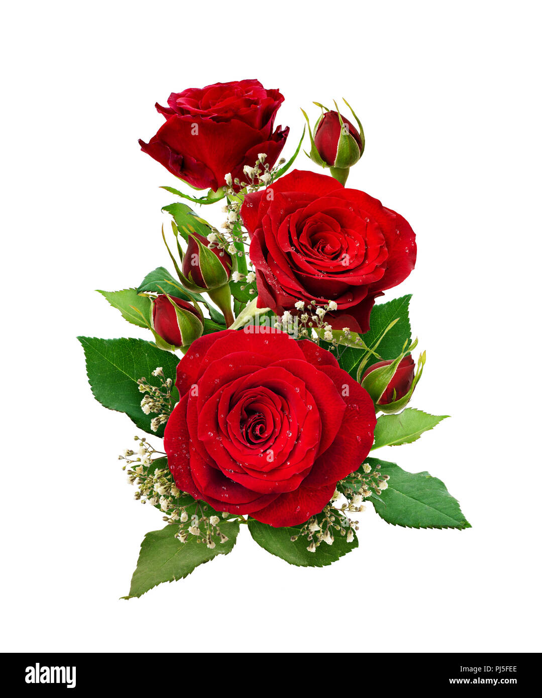 Romantic Arrangement With Red Roses And Gypsophila Flowers And Buds
