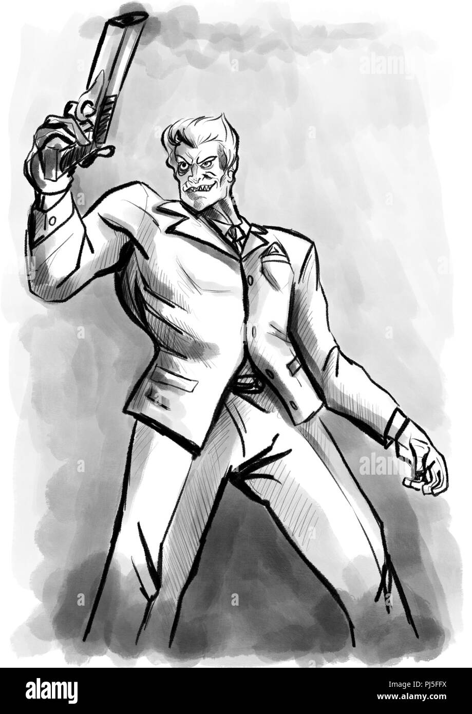 Gangster Or Hitman Illustration Stock Photo Alamy