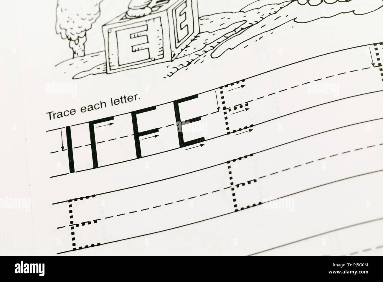 Preschool English writing workbook - USA - Stock Image