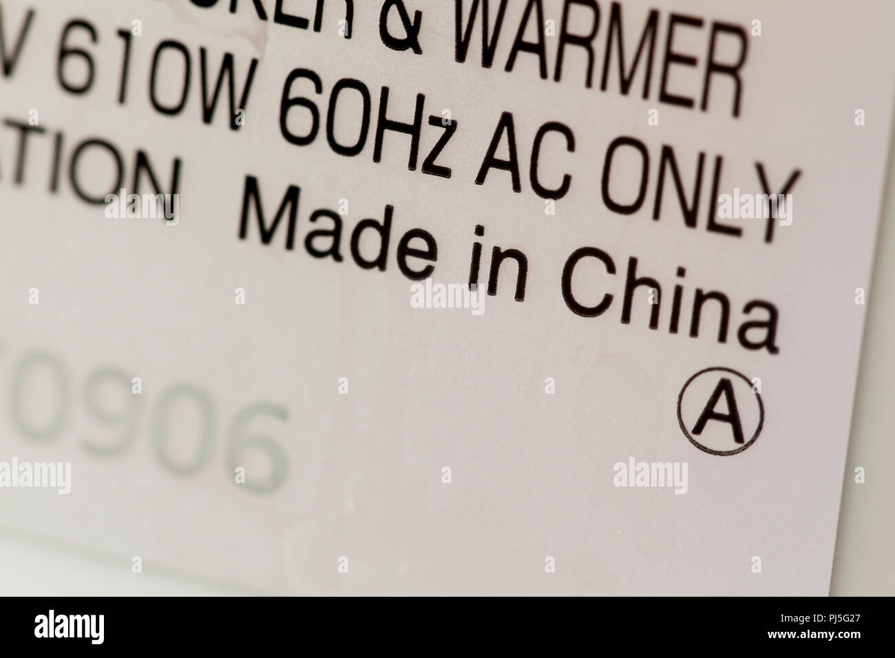 Made in China label on electronics - Stock Image