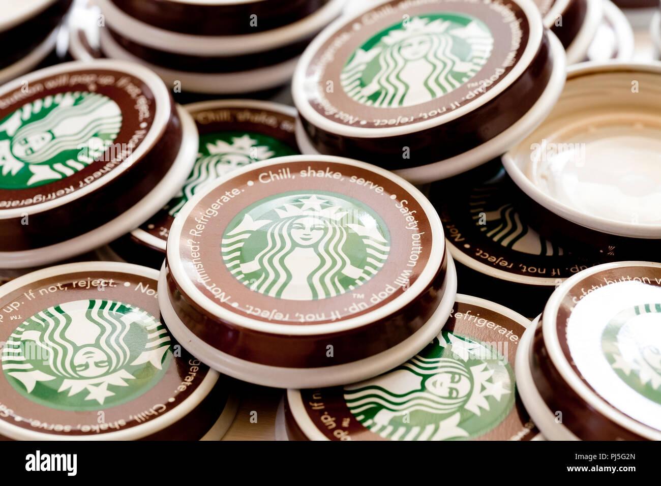 Starbucks coffee bottle caps (Starbucks bottled coffee)- USA - Stock Image
