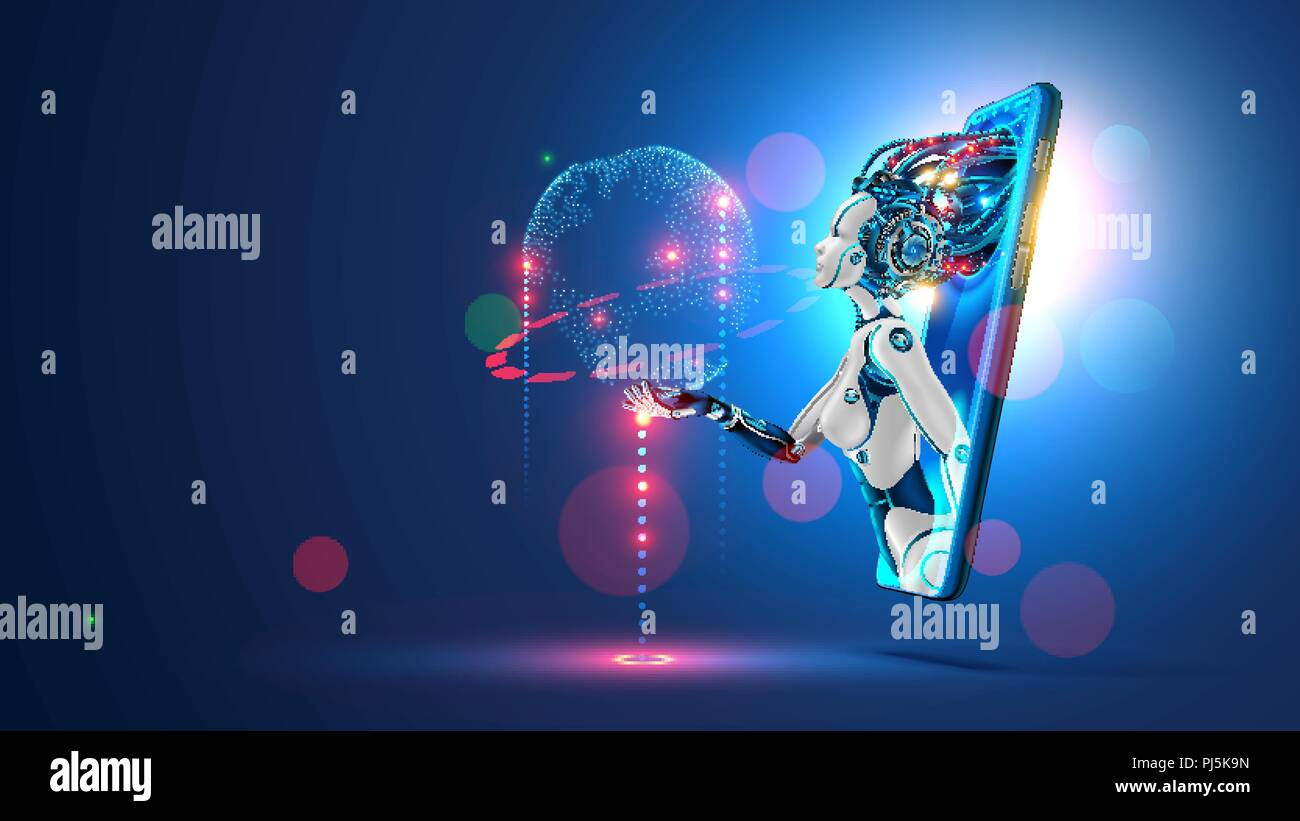 Artificial intelligence provide access to information and data in online networks via smartphone. AI in the form of woman cyborg or bot coming out of the screen phone and offers to use digital mind - Stock Image