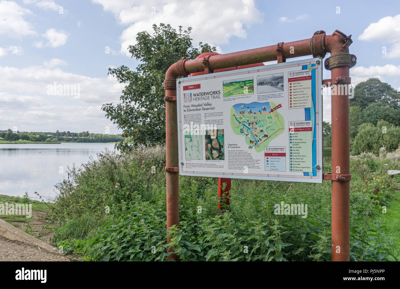 Information sign at Sywell Reservoir, part of Sywell Country Park, Northamptonshire, UK - Stock Image
