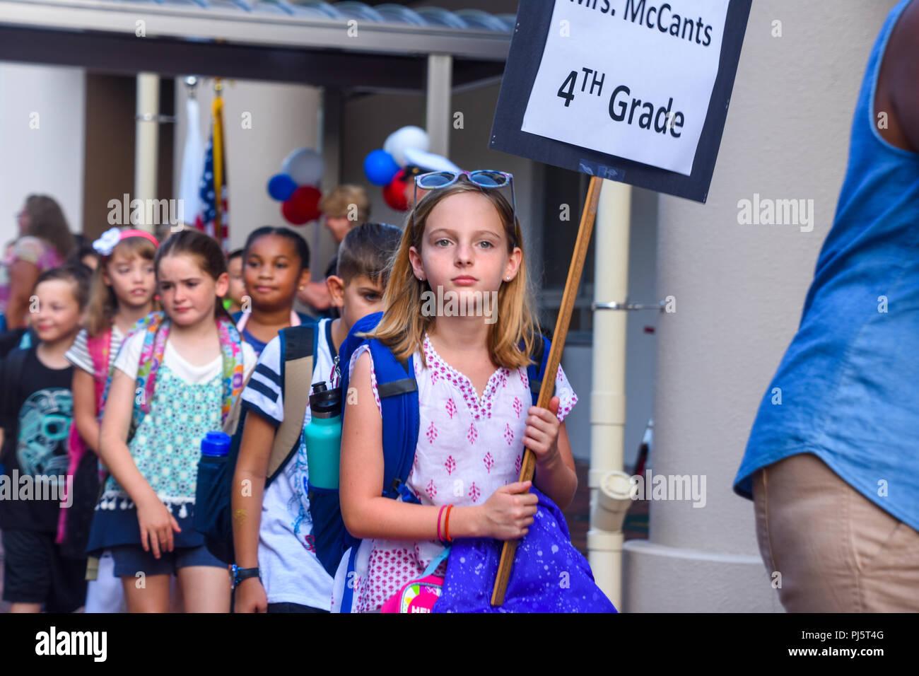 Zushi Japan Aug 27 2018 Ikego Elementary School Students Walk