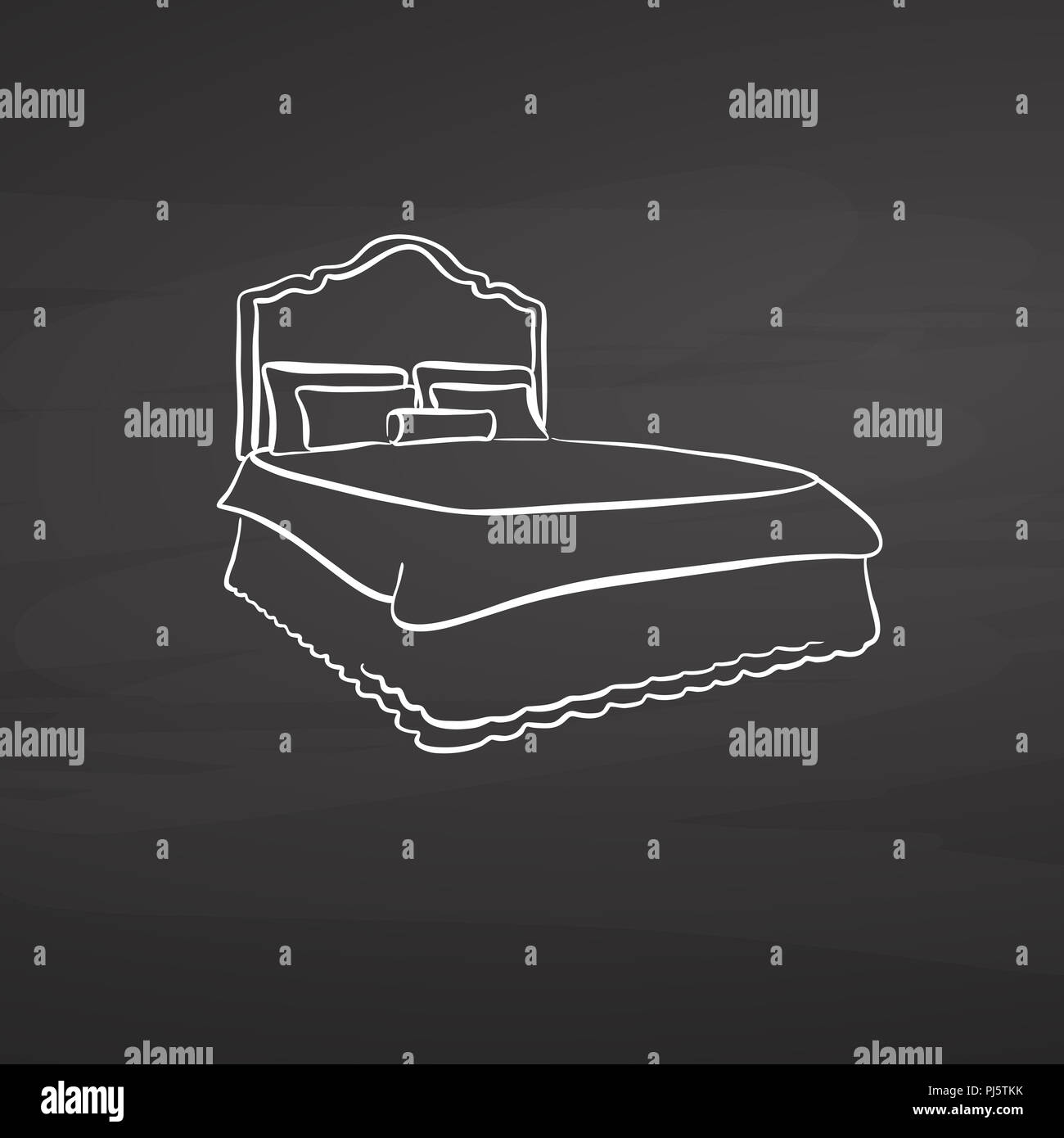 bed drawing on chalkboard. hand-drawn vector sketch. business concept design. - Stock Image