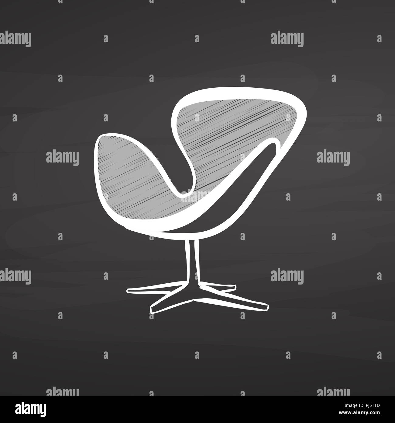 Modern Chair Drawing On Chalkboard. Hand Drawn Vector Sketch. Business  Concept Design.