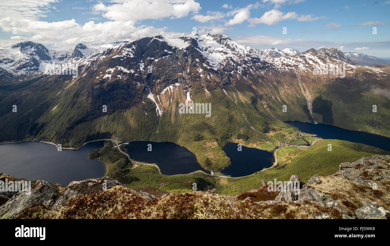 Folkestad mountains as seen from the summit of Keipen, Volda Norway - Stock Image