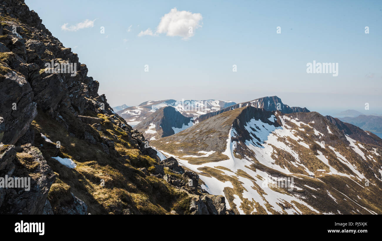Mountain ridges leading from Snøhornet peak, Lauvstad Norway. - Stock Image