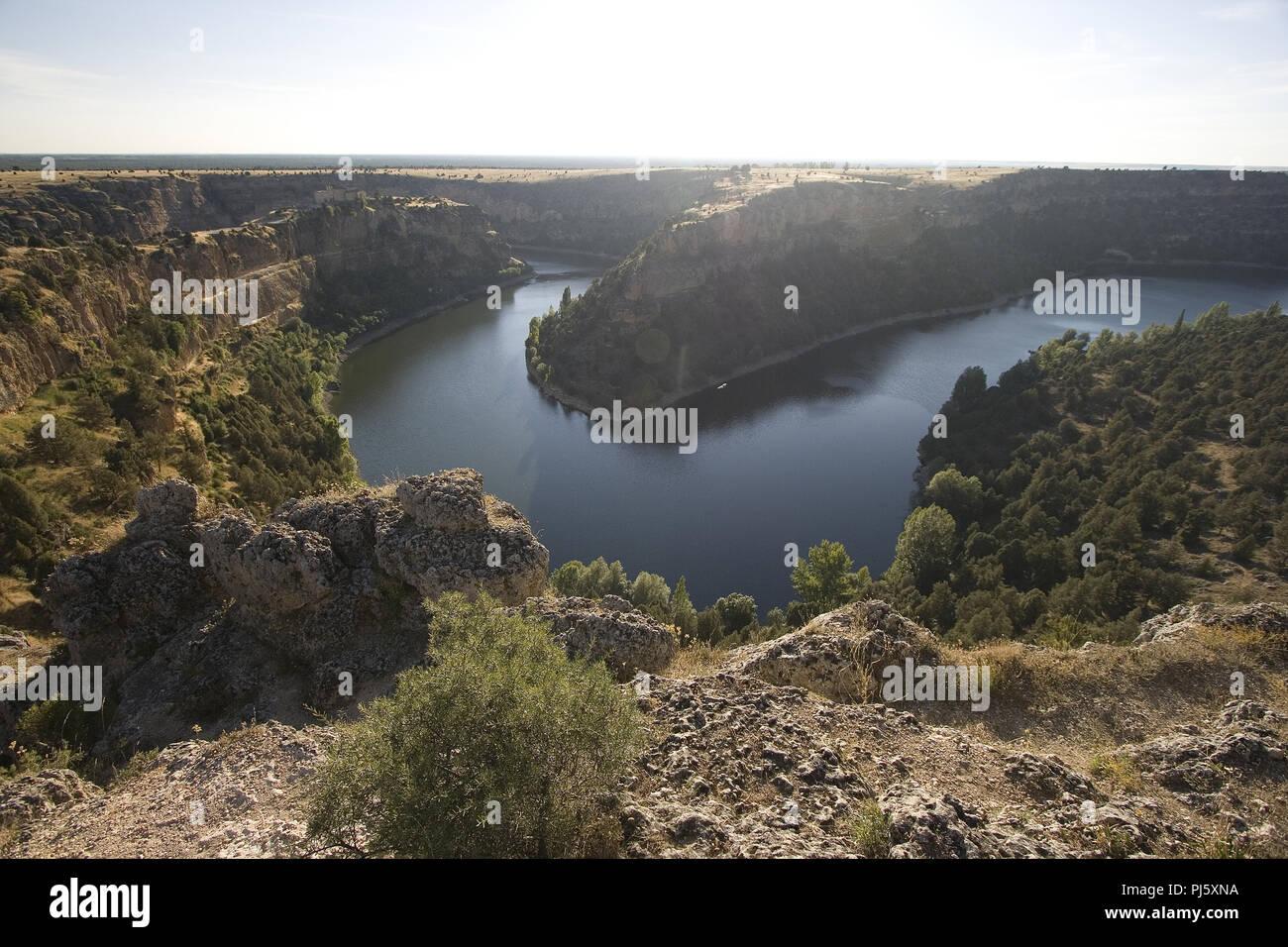 Duraton river and San Frutos Monastery, Duraton, Segovia. Hoces del Duraton natural park. Segovia. Castilla y Leon. Spain - Stock Image
