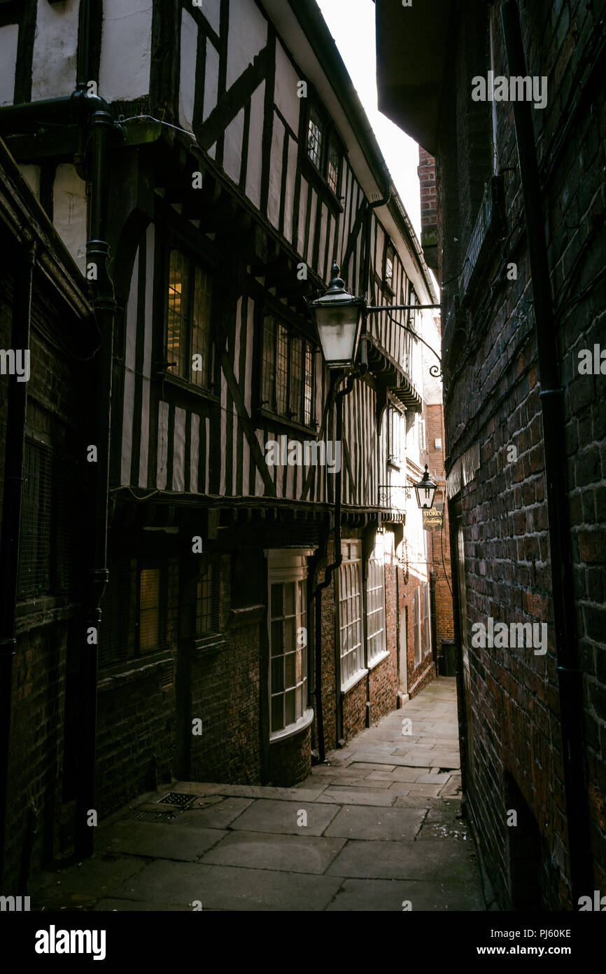 Lady Pecketts Yard, across from The Shambles, York, North Yorkshire, England, UK - Stock Image