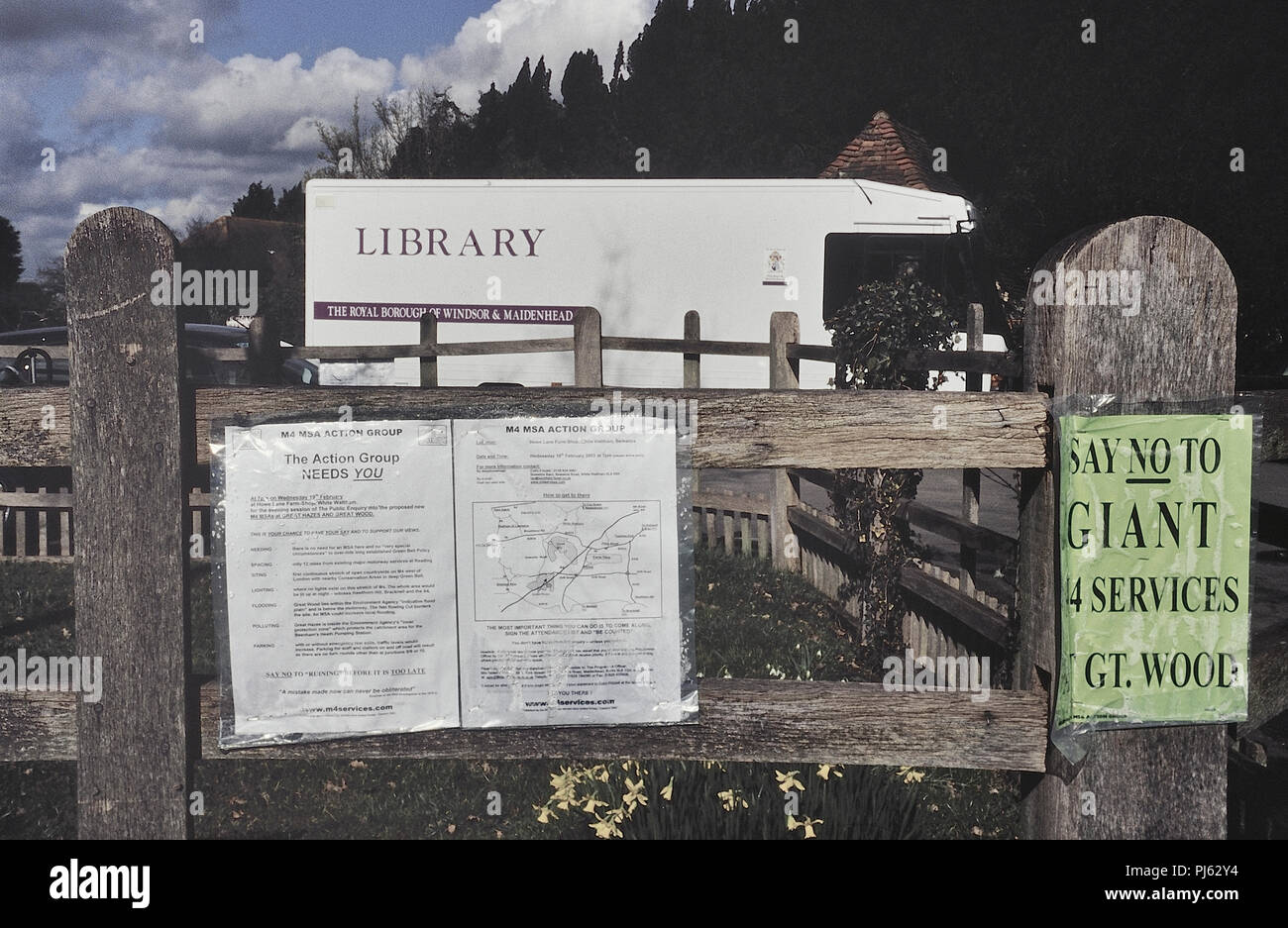 Local action group information opposing the planned M4 motorway service station at Great Hazes and Great Wood. Berks, England, UK. 2003 - Stock Image