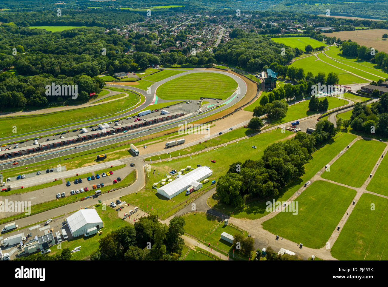 Aerial view of Brands Hatch race circuit, Kent, UK - Stock Image