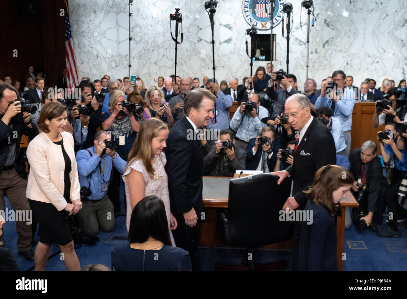 Washington Dc Usa 4th Sep 2018 Us Supreme Court Associate Confirmation Watch And Latest News In Senate Judiciary Committee Justice Nominee Brett Kavanaugh Is Greeted By Chairman Sen Chuck Grassley R Ia As Kavanaughs Family Walks