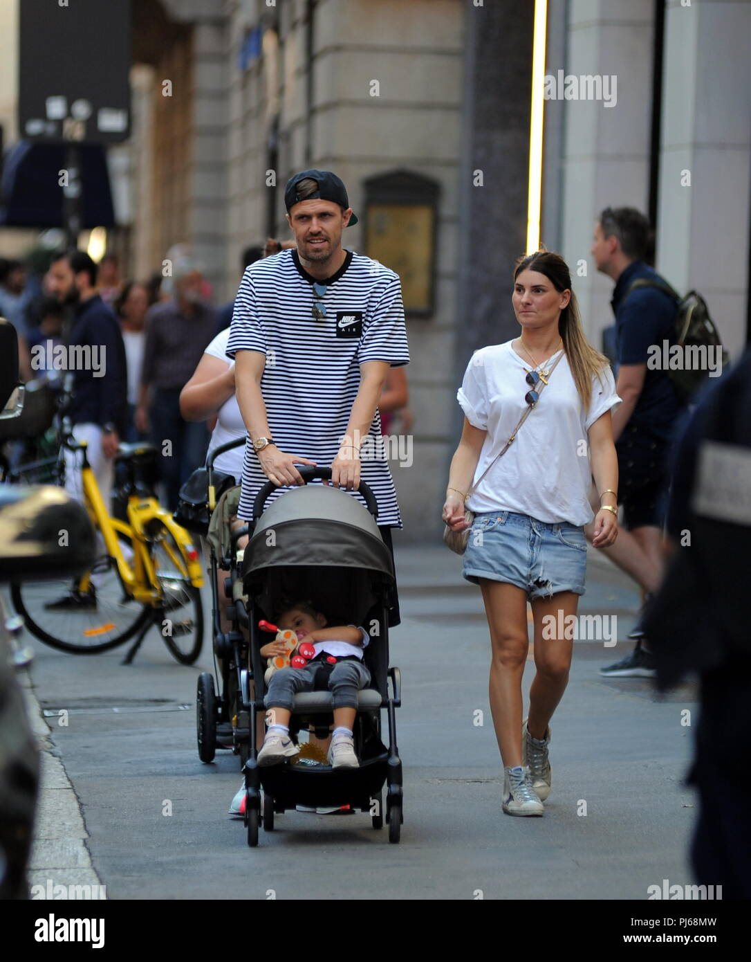 Milan, Josip Ilicic and family walking in the center Josip ...