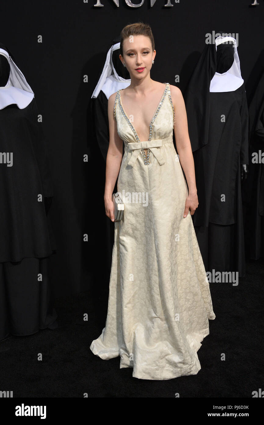 Los Angeles, California, USA. 4th September, 2018. LOS ANGELES, CA. September 04, 2018: Taissa Farmiga at the world premiere of 'The Nun' at the TCL Chinese Theatre, Hollywood. Credit: Sarah Stewart/Alamy Live News - Stock Image