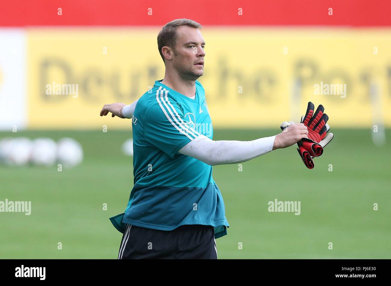 firo: 04.09.2018, Fuvuball, football, national team, training, Manuel Neuer, DFB, half figure, Germany | usage worldwide - Stock Image
