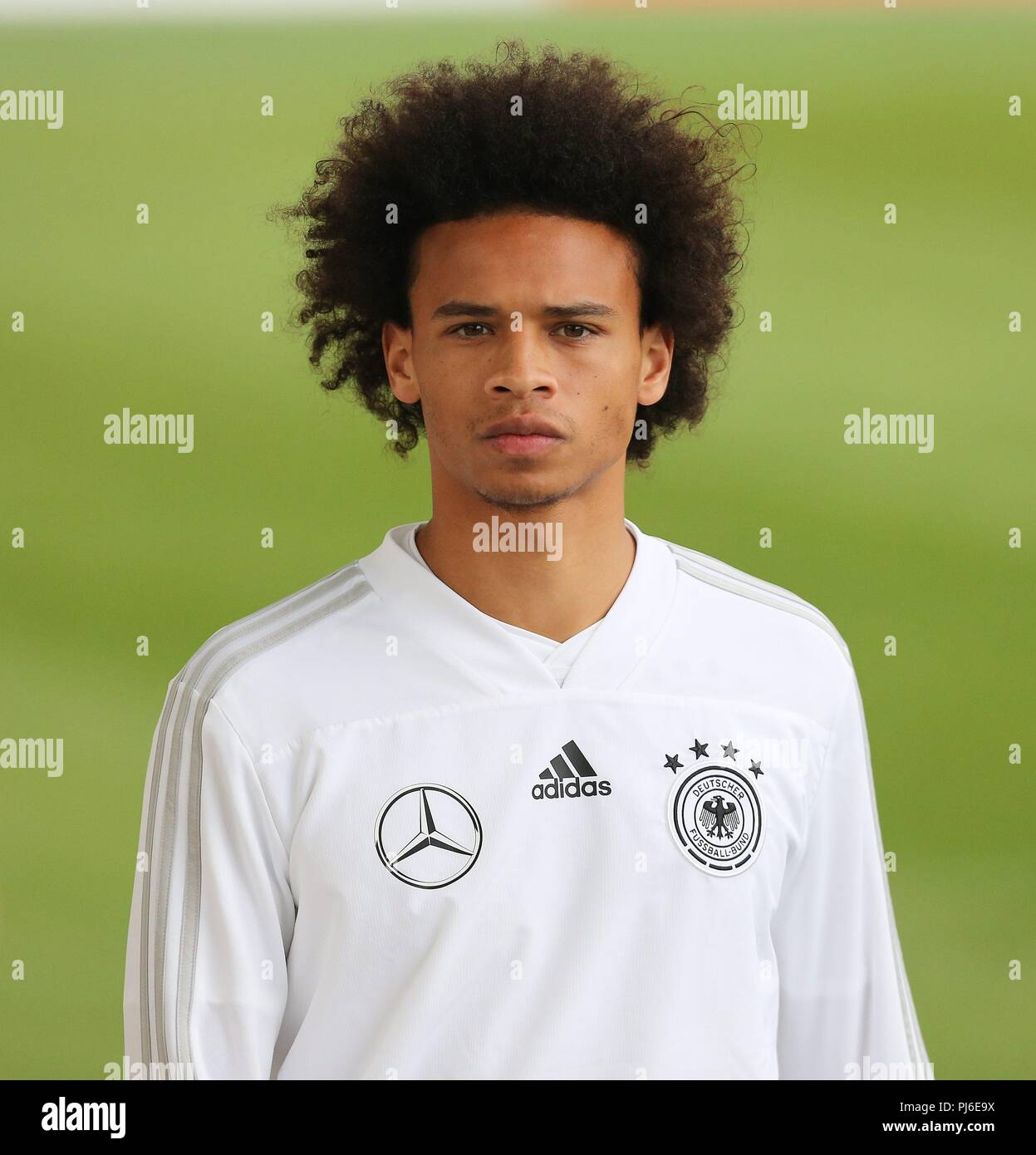 firo: 04.09.2018, Fuvuball, football, national team, training, Leroy Sane, DFB, half figure, Germany | usage worldwide - Stock Image
