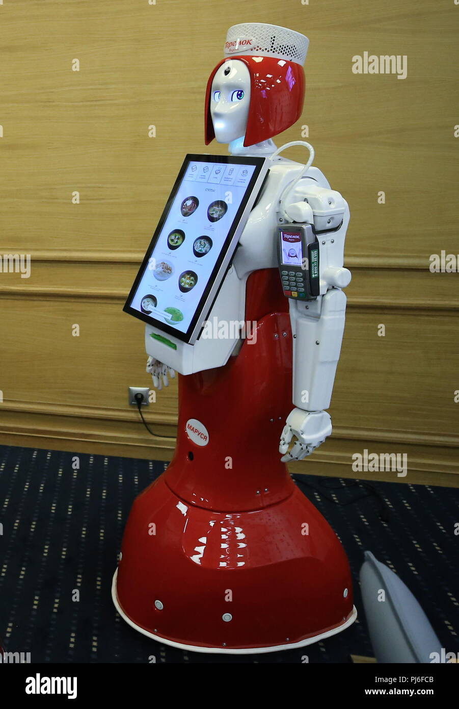 St Petersburg, Russia. 05th Sep, 2018. ST PETERSBURG, RUSSIA - SEPTEMBER 5, 2018: Marusya the robot taking orders and accepting credit cards that will serve at Teremok fast food chain offering Russian cuisine. Peter Kovalev/TASS Credit: ITAR-TASS News Agency/Alamy Live News Stock Photo