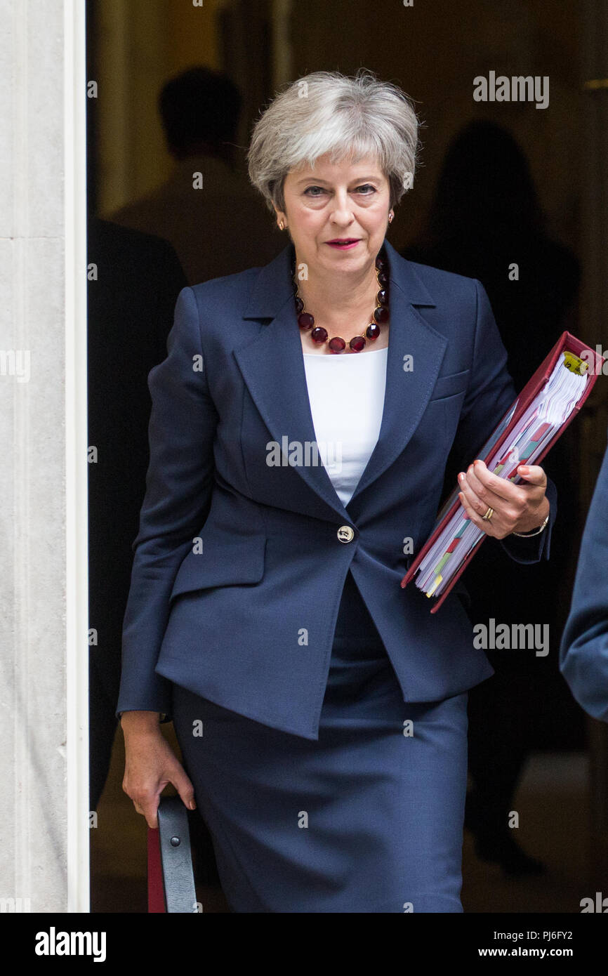London, UK. 5th September, 2018. Prime Minister Theresa May leaves 10 Downing Street to attend the first session of Prime Minister's Questions since Parliament returned following the summer recess and then to make a special statement to the House of Commons. Credit: Mark Kerrison/Alamy Live News - Stock Image