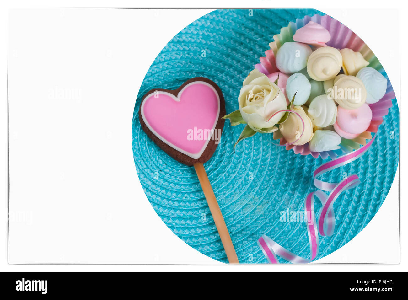 Symbol Of Love Pink Gingerbread Cookie In The Shape A Heart Sweets