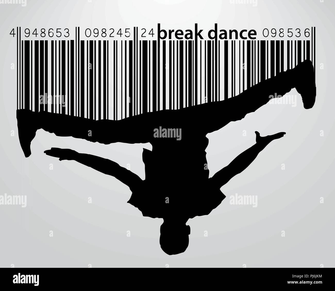 Silhouette of a break dancer. Background and text on a separate layer, color can be changed in one click - Stock Vector