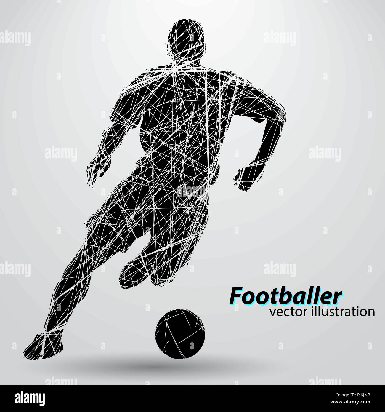 silhouette of a football player. Text and background on a separate layer, color can be changed in one click. Stock Vector