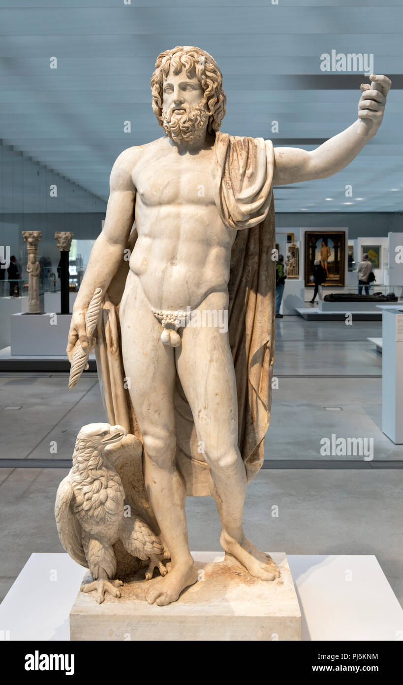 Statue of the Roman god, Jupiter dating from around 150 AD. - Stock Image