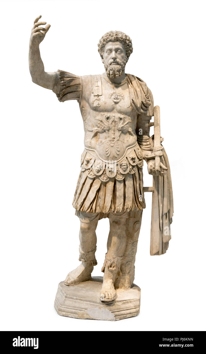 Statue of the Roman emperor Marcus Aurelius, dating from around 160 AD. - Stock Image