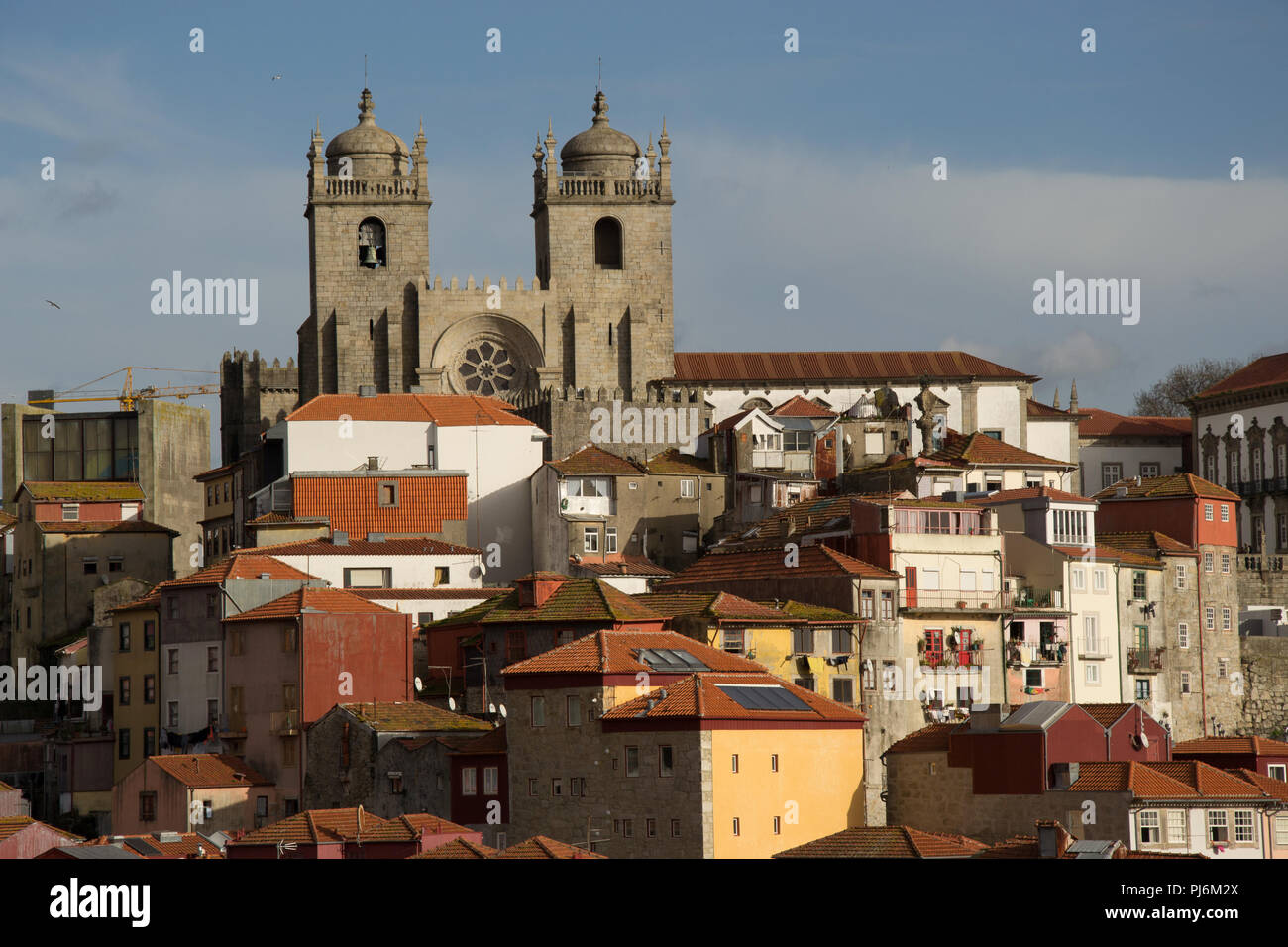 Sunny panorama of Porto -  quaint Old Town with cathedral in the central point - Stock Image