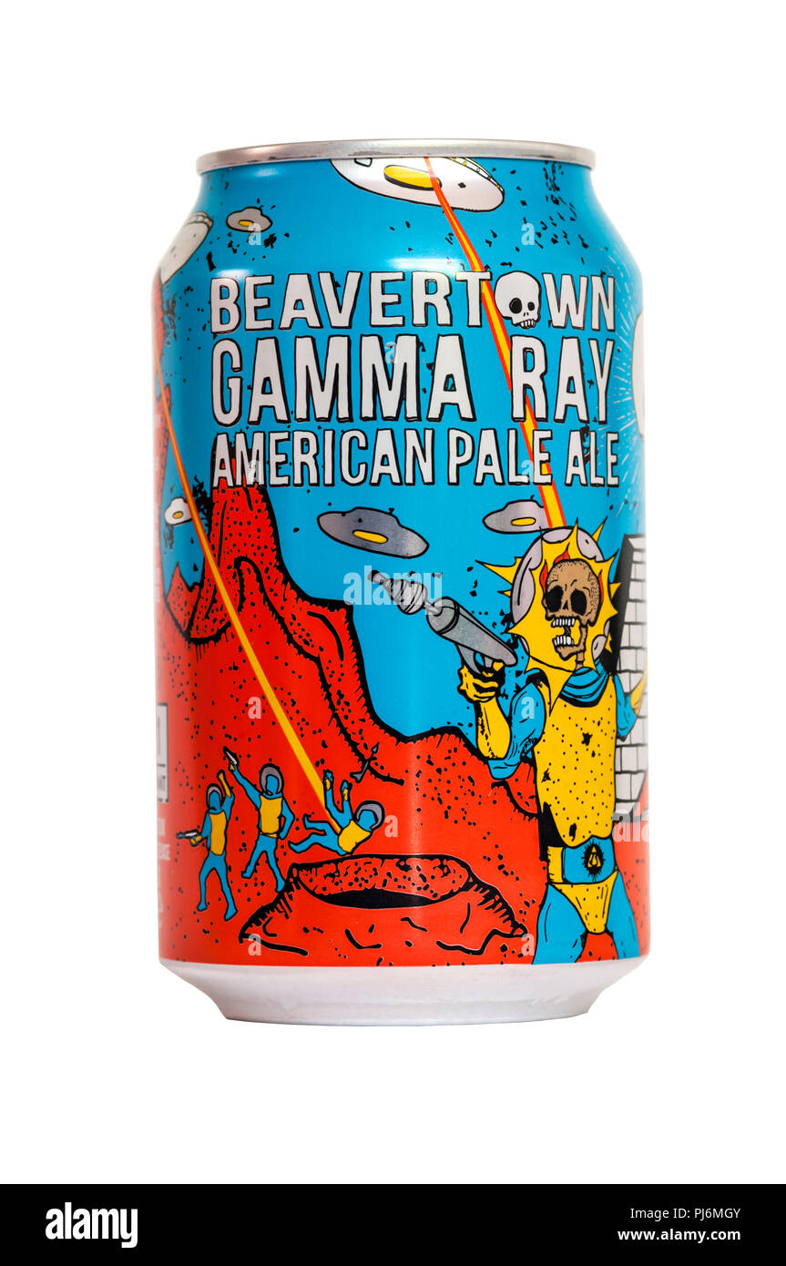 A can of Beavertown Gamma Ray American Pale Ale.  It has a strength of 5.4% ABV. - Stock Image