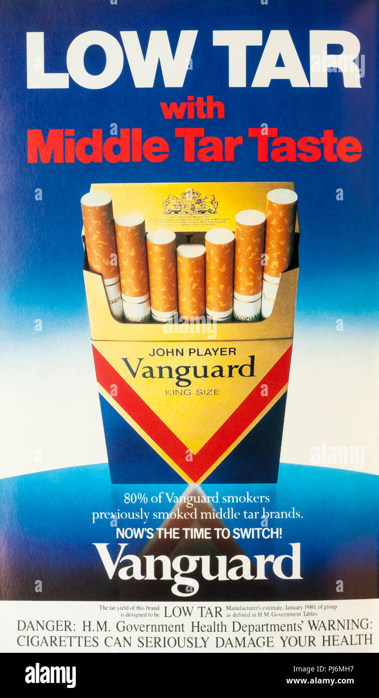 A 1981 magazine advert for John Player Vanguard Low Tar cigarettes. - Stock Image