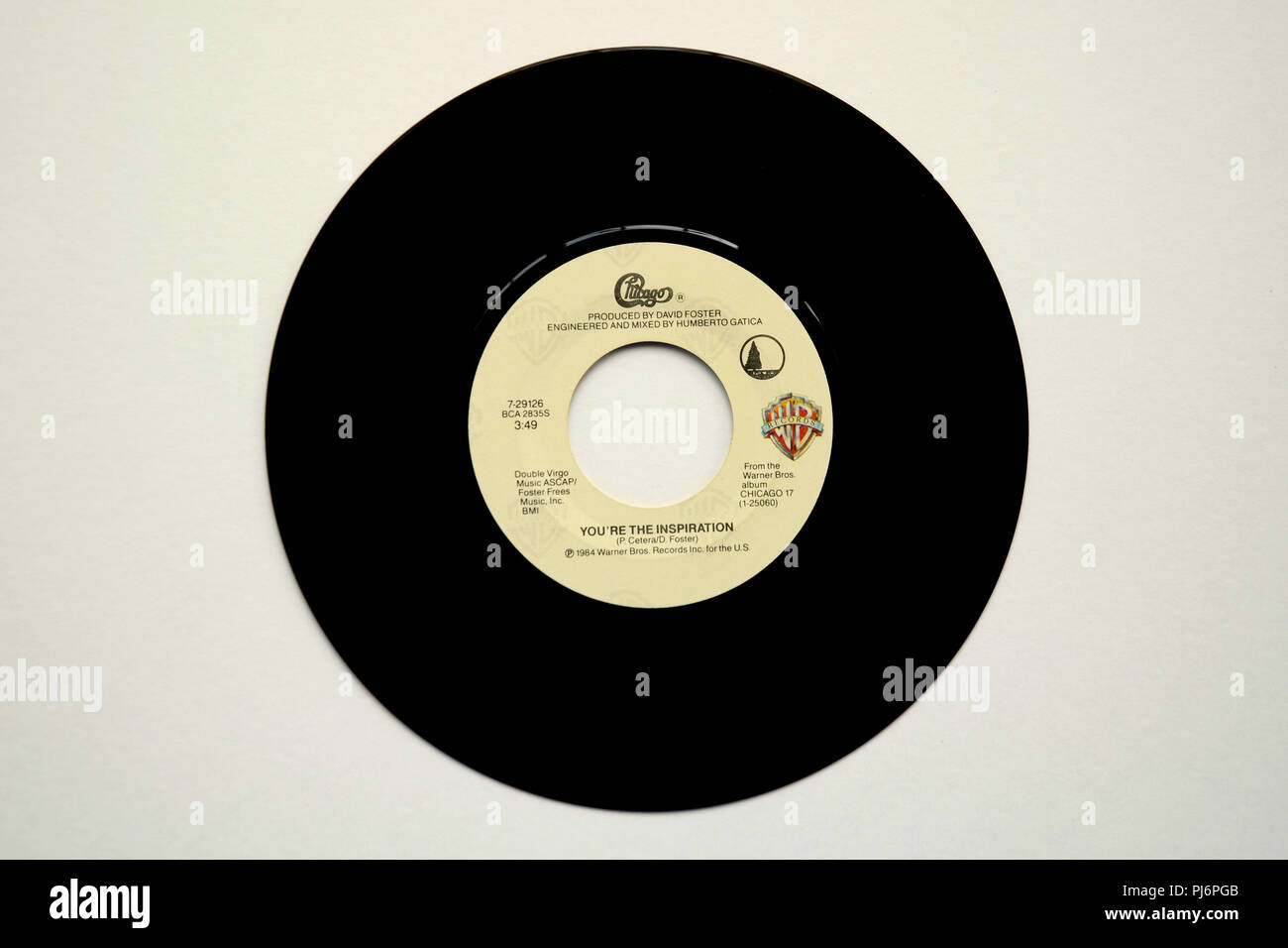 45 RPM vinyl record of Chicago's song 'You're the Inspiration' released in 1984 by Warner Brothers Records. - Stock Image