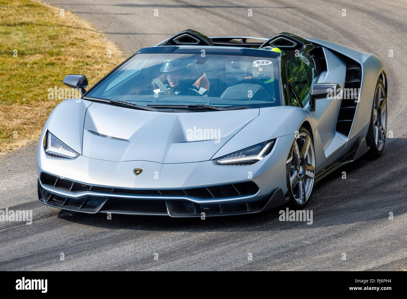 2018 Lamborghini Centenario Roadster on it's demonstration hillclimb run at the 2018 Goodwood Festival of Speed, Sussex, UK. - Stock Image